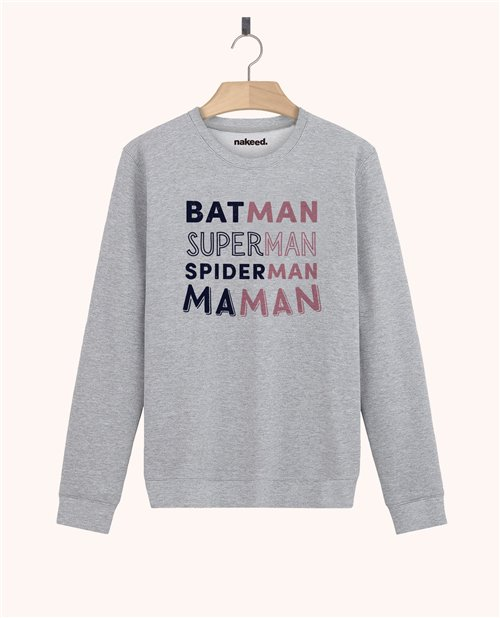 Sweatshirt Batman Superman Spiderman Maman