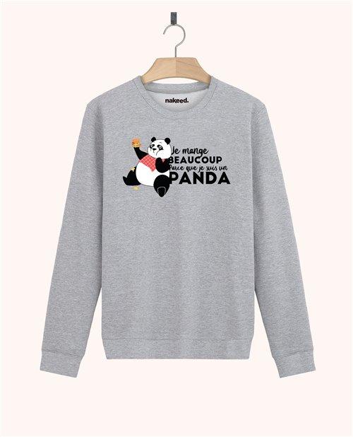 Sweatshirt Je mange beaucoup parce que je suis un panda