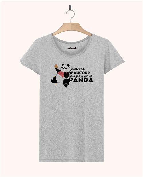Teeshirt Je mange beaucoup parce que je suis un panda